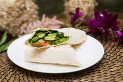 Eastern roll pita with vegetables, meat. Kebab Stock Photography