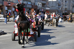 Eastern row. Every March, the Bulgarian community in Targoviste city of Romania celebrates the Eastern of the horses. People thank the horses for their help at Stock Photos
