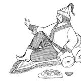 Eastern ruler orders. Eastern ruler resting on the carpet and cushions and orders his subjects, in national dress and headdress, next to a platter and fruit Stock Image