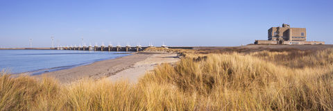 Eastern Scheldt Barrier at Neeltje Jans in The Netherlands. The Eastern Scheldt Storm Surge Barrier at Neeltje Jans in the province of Zeeland in The Netherlands Royalty Free Stock Photography