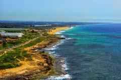 Eastern coast Mediterranean Sea. Eastern shore of the Mediterranean from Rosh Hanikra, Israel Stock Images