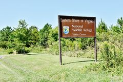 Eastern shore virginia national wildlife refuge sign. NThe Eastern Shore of Virginia National Wildlife Refuge is a wildlife refuge located in Northampton County stock image