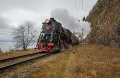 Old steam locomotive. Eastern siberia, Irkutsk region, in the Circum-Baikal Railway Royalty Free Stock Image