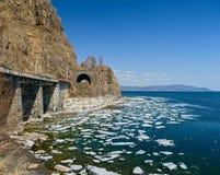 Spring on the Circum-Baikal Road. Eastern Siberia, Irkutsk region, lake Baikal, Circum-Baikal railroad Royalty Free Stock Photo