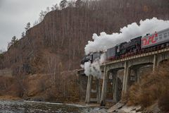 Old steam locomotive in the Circum-Baikal Railway Royalty Free Stock Image