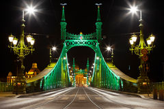 Eastern side of Liberty Bridge connecting Buda and Pest across Dunabe River in Budapest, Hungary Stock Image