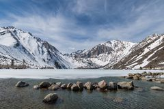 Beautiful snow-covered Convict Lake Stock Image