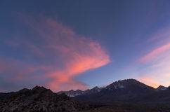 Eastern Sierra Sunset. Over Mount Humphreys and Basin Mountain Stock Photography