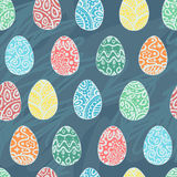 Eastern sketch eggs. Vector illustration. Vector seamless pattern with colorful eggs  background Stock Image