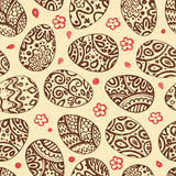 Eastern sketch eggs. Vector illustration. Vector seamless pattern with colorful eggs on BROWN background Stock Photography