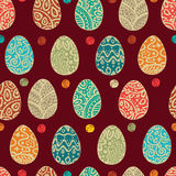 Eastern sketch eggs. Vector illustration. Vector seamless pattern with colorful eggs on BROWN background Royalty Free Stock Photos