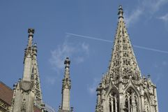 Detail of Ulm Minster. Eastern spire and pinnacles of Ulm Minster, a gothic church Stock Image