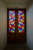 Eastern stained-glass windows, old glass doors with colored stained glass. Oriental ornament.  royalty free stock photos