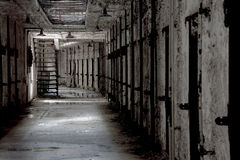 Eastern State Penitentiary. Cell Corridor in disarray with incoming window light Stock Image