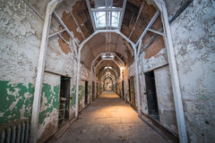 Eastern State Penitentiary Hallway. A haunted looking hallway in Eastern State Pen. in Philadelphia Royalty Free Stock Photo