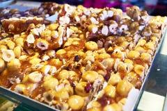 Eastern sweetness of hazelnut on counter market Royalty Free Stock Images