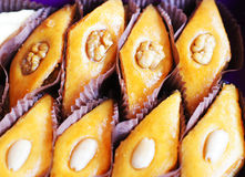 Eastern sweets. Baklava with the nuts, closeup of eastern sweet dessert Stock Photography