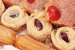 Eastern sweets. Collection of eastern arabian mediterranean sweets with nuts stock images