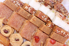 Eastern sweets. Collection of eastern arabian mediterranean sweets with nuts stock photography