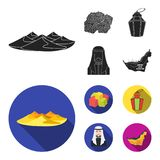 Eastern sweets, Ramadan lamp, Arab sheikh, territory.Arab emirates set collection icons in black, flat style vector. Symbol stock illustration Stock Photo