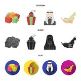 Eastern sweets, Ramadan lamp, Arab sheikh, territory.Arab emirates set collection icons in cartoon,black,flat style. Vector symbol stock illustration Stock Photos