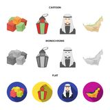 Eastern sweets, Ramadan lamp, Arab sheikh, territory.Arab emirates set collection icons in cartoon,flat,monochrome style. Vector symbol stock illustration Royalty Free Stock Photos