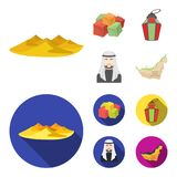 Eastern sweets, Ramadan lamp, Arab sheikh, territory.Arab emirates set collection icons in cartoon,flat style vector. Symbol stock illustration Royalty Free Stock Images