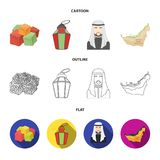 Eastern sweets, Ramadan lamp, Arab sheikh, territory.Arab emirates set collection icons in cartoon,outline,flat style. Vector symbol stock illustration Stock Photos