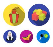 Eastern sweets, Ramadan lamp, Arab sheikh, territory.Arab emirates set collection icons in flat style vector symbol. Stock illustration Stock Photos