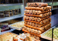 Eastern sweets in a wide range, baklava, Turkish delight Stock Photos