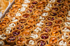 Eastern sweets in a wide range, baklava, Turkish delight Royalty Free Stock Photography
