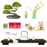 Eastern symbols and Feng Shui, tea ceremony Stock Photo