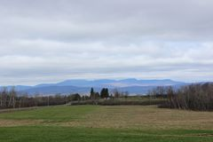 Eastern Townships Landscape. In Southern Quebec in spring stock photo