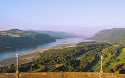Eastern View From Crown Point in Columbia River Gorge. Distant Forest Fires fill the air with smoke coloring the sky in the east lit by the setting sun at Crown Royalty Free Stock Image