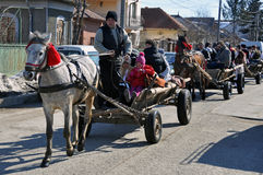 Eastern village. Every March, the Bulgarian community in Targoviste city of Romania celebrates the Eastern of the horses. People thank the horses for their help Stock Photo