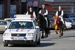 Eastern of village. Every March, the Bulgarian community in Targoviste city of Romania celebrates the Eastern of the horses. People thank the horses for their Royalty Free Stock Images