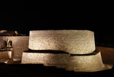 Eastern wall of Bahrain fort at night Royalty Free Stock Images