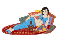 Eastern woman lying on the carpet Royalty Free Stock Image
