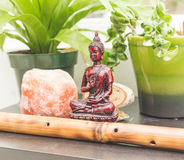 Eastern and worldly decorations on a shelf Royalty Free Stock Image