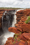 Easternmost waterfall on the King George Rive in flood. The King George Falls in the Kimberley at the very Northern tip of Western Australia are as spectacular stock images