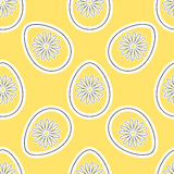 EasterPattern2. White eggs with white flowers on the yellow background. Vector illustration Stock Photos
