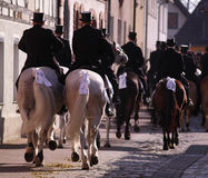 Easterrider in Wittichenau. WITTICHENAU, GERMANY - EASTER SUNDAY The Easter Riders of Upper Lusatia announce the news of Jesus resurrection 2016 in Wittichenau royalty free stock photography