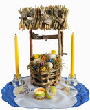 Easters decoration. With well and candles Stock Photography