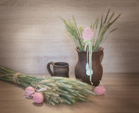 Easters still life from painted eggs and clayware. Royalty Free Stock Photography