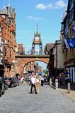 Eastgate Clock and shopping street, Chester. Royalty Free Stock Photography