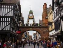 Eastgate klocka i Chester, England royaltyfria foton