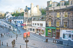 Eastgate pedestrian area in Inverness. An image of a pedestrian area where cars are excluded in Eastgate Inverness showing shops, cafe and hostel Stock Photos