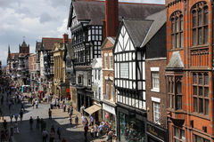 Eastgate street. Chester. England. Eastgate street , viewed from Eastgate clock. Chester.  county Cheshire. England Royalty Free Stock Photo