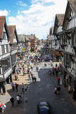 Eastgate street towards Foregate street. Chester. England. Eastgate street towards Foregate street , viewed from Eastgate clock. Chester.  county Cheshire Royalty Free Stock Images