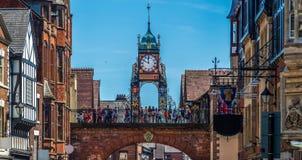 Eastgate und Eastgate-Uhr, Chester, Großbritannien lizenzfreie stockfotos